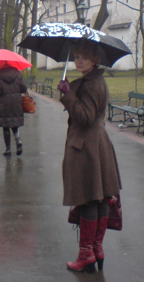 Beloved Anglomania coat and red boots, Feb 2008